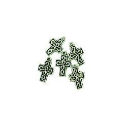 Antique Silver Cross Charm, 20mm, 6 pcs