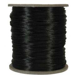 Rattail Satin Cord 3mm Black, 4 metres