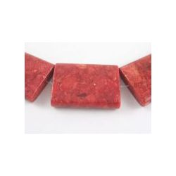 Natural Coral Beads, Dyed, Rectangle, Bead: 25 x 35mm, 1pc