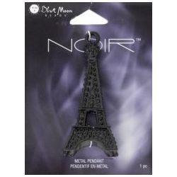 Eiffel Tower Pendant, 70 x 30mm, 1pc - Blue Moon Noir Black Nickel