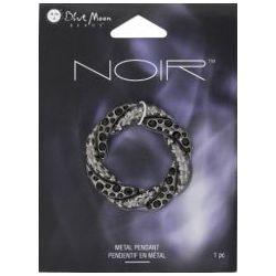 Circle Knot Metal Pendant, 35 x 35mm, 1pc - Blue Moon Noir Black Nickel