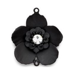 Blue Moon Tokens Metal Pendant Black Flower, 40 x 35mm, connector, 1/Pkg