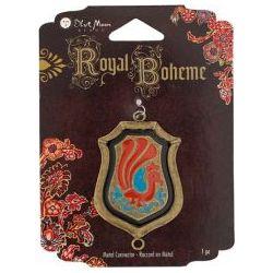 Royal Boheme - Oxidized Brass Royal Shield Metal Connector, 50x30mm 1pc