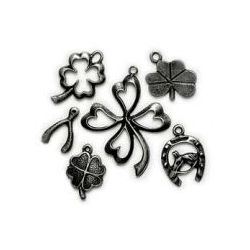 Lost & Found - Clover/Luck Asst Charms. Antique Silver 6/Pkg