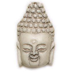 Lost & Found - Resin Buddha Head-Ivory 1pc (40x25mm)