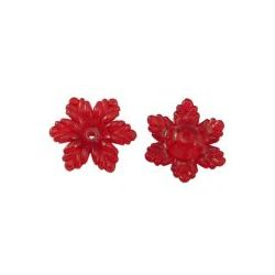 Acrylic Flower Beads, Red, Transparent, 19mm, 50 grams - heaps