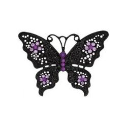 Blue Moon Noir Black Nickel Butterfly With Purple Stones-Black Matte, 70 x 60mm, 1 pc