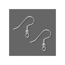 Earwire, surgical steel, 20mm fishhook with nickel-plated 3mm ball and coil, 21 gauge. Sold per pkg of 50 pairs.